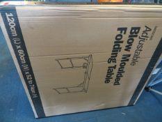 Adjustable blow moulded folding table 120cm x 60cm x 74cm (boxed)