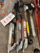 Three Sealey Tyre inflation guns with gauges + 2 x manual pumps