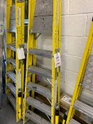 Youngman fibre glass 'A' frame 6 tread step ladder c/w built in stabilisers