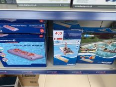 Nine Campingaz floating water mattresses, nine Sofashion lilo's, a Sofashion lilo kit