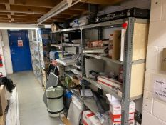 Six light duty racking units c/w contents of warranty and returned stock