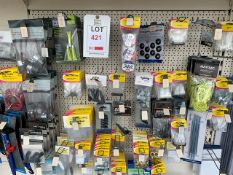 Contents of three display units to include large quantity of tent pegs, tent poles, and camping