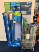 Two Display Units c/w Contents to include Kampa Sabre Link Awning and Tent LED Light Sets, Drive