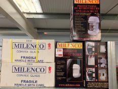 Contents of shelf to include five Milenco mirror protectors and twelve Milenco convex glass mirrors