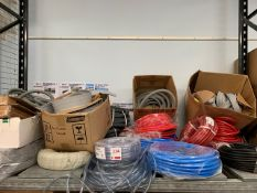 Contents of shelf to include various hose/waste pipe and rain/splash guard as lotted