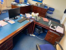 Contents of two offices to include two L shaped dark wood with blue leather inlay desks, dark wood