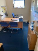 Contents of office to include desk with pedestal, wall mounted flat screen monitor, book case,