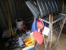 Contents of container to include racking, advertising stands and motorhome archive parts snow