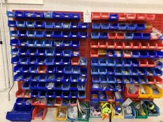The contents of rack and pick bins inc Various size screws, rivets, electrical connectors, plastic