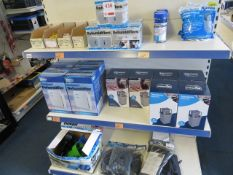 Contents of display unit to include 9 various size dehumidifiers, 6 Kampa damp buster, 8 clip on cup