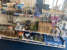 Contents of three display units to include a large quantity of LED strip lights, head torches,