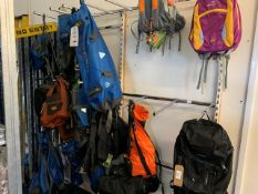 Contents of Display Rack to include Various Rucksacks & Carry Bags by Easy Camp, Vango Aquapac &