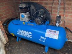 ABAC 200 HP3 air compressor c/w oil & water separator model PRO A39B 200 FT3 (2015)