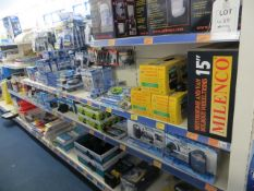 Contents of 4 display units to include 7 various mirror protectors, motorhome wheel trim various