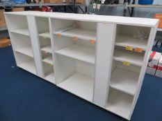 Two mobile wooden shop display units H 110cm W 55cm L 120cm