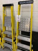 Two sets of Youngman fibre glass 3 tread step ladders c/w built in stabilisers