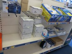 Contents of two display units to include 19 various size housing coves, 2 blanking plugs, hinge pin,