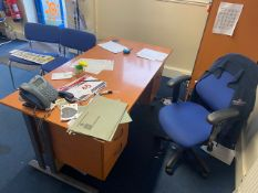 Contents of office to include three L shaped desks c/w pedestals, a five drawer desk, four drawer
