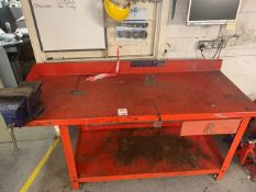 Steel machinists bench with vice and draw