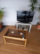 Qty of showroom office furniture, potted plants and Logik flatscreen television with stand