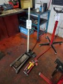 Rocket Lift heavy duty trolley jack and an Ultimate Speed trolley jack