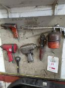 2 pneumatic impact wrenches, 1 x pneumatic pistol drill, 1 x pneumatic 90° wrench and 1 x