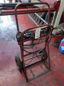 Oxyacetylene bottle trolley with cutting torch, gauges and hose