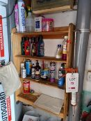 Contents to small store room comprising touch up paints and polishers and forecourt sundries