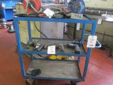 Blue steel framed rubber transport trolley