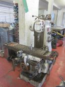 """G Dufor turret mill 8"""" cutting head, spindle speed 21-1600 rpm, table size 1100 x 250mm. A work"""