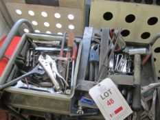 Quantity of assorted hand tools, G clamps, etc.