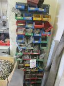 Assorted picking bins and shelf contents to include rivets, screws, studs, etc.
