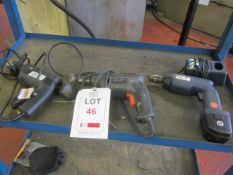 Draper 9.6v cordless drill, Black & Decker BD561 drill, 240v and a B&Q 500v impact drill