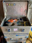 Three teel boxes of tools, Spanners, Hacksaws, blades + Three lamps and a torch etc. as lotted *This
