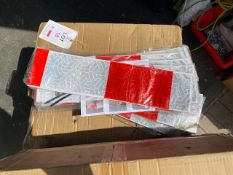 One hundred unused red & white reflective strips 3741mm long drawing No LKWL249 rev P5 * This lot is