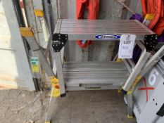 3 x Aluminium fold away work platforms 50cm height (2x Youngmans, 1x Werner) *This lot is located at