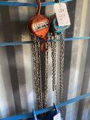 WH-C4 1 tonne chain hoist & an unnamed 1 tonne chain hoist. *N.B. This lot has no record of Thorough