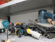 Contents of six shelves to include various complete and incomplete tools to include Bosch GSS28A