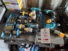 2 x Makita DP2010 110v Drills and 2 x Makita 6413 110V drills with various drill bits and 5 x