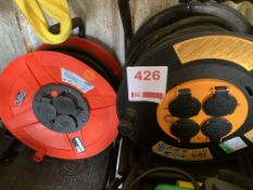 Twocable reels round sockets 25M *This lot is located at Gibbard Transport, Fleet Street Corringham,