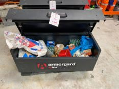 Armorguard OxBox 2, Site Storage Box no keys & contents of nuts & bolts as lotted * This lot is