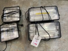 Two Brennenstahl 110V 50Hz working lights & two Prysmian 240V working lights with euro plugs *