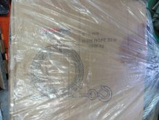 Box of Liftin Gear 20 metre 16mm steel wire rope c/w various eyes. *N.B. This lot has no record of