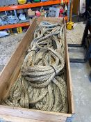 Wooden crate with approx. 100m Dynamo rope for winch * This lot is located at Unit 15, Horizon
