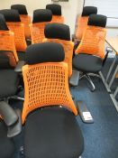 Four Flash ergonomic task office chairs, charcoal seat, orange back* This lot is located at Unit 15,