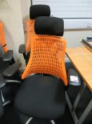 Two Flash ergonomic task office chairs, charcoal seat, orange back* This lot is located at Unit