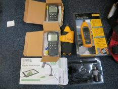 Various meters to include two Fluke 971 Temperature Humidity Meter, Two Elma 711 K-Type