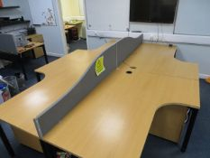 Four Light Oak Veneer Workstations with acoustic screening and four pedestals* This lot is located