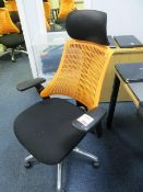 Flash ergonomic task office chair, charcoal seat, orange back* This lot is located at Unit 15,