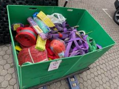 Contents of crate to include large quantity of lifting slings various sizes used and unused as